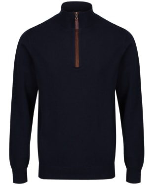 Men's Schoffel Merino Cashmere ¼ Zip Jumper - Navy