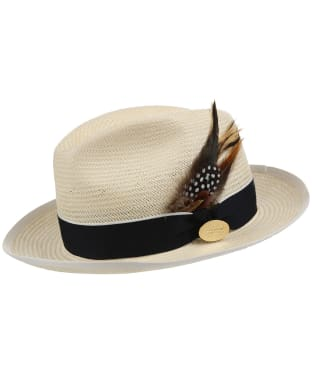 Women's Hicks & Brown Holkham Luxe Panama Hat - Guinea and Pheasant Feather - Navy / Cream