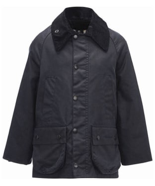 Boy's Barbour Classic Bedale Waxed Jacket, 2-9yrs - Navy