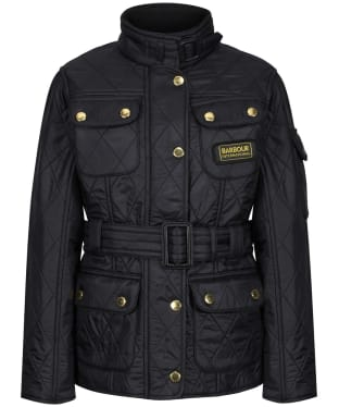Girl's Barbour International Quilted Jacket, 2-9yrs - Black