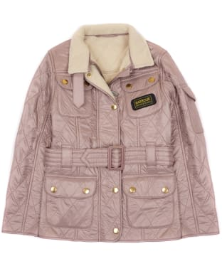 Girl's Barbour International Quilted Jacket, 10-15yrs - Latte