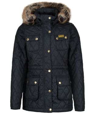 Girl's Barbour International Enduro Quilted Jacket, 2-15yrs - Black