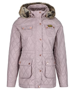 Girl's Barbour International Enduro Quilted Jacket, 2-15yrs - Latte