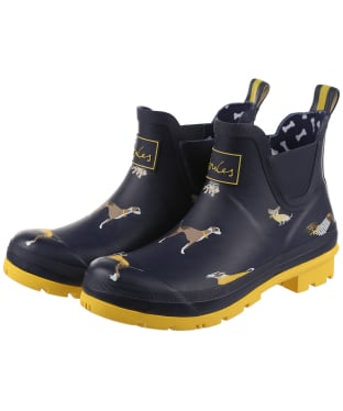 Women's Joules Wellibob Short Wellingtons - Navy Harbour Dogs