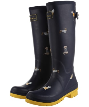 Women's Joules Welly Print Wellington Boots - Navy Harbour Dogs