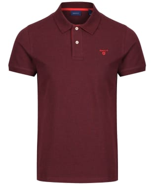 Men's GANT Contrast Collar Pique - Dark Burgundy Melange