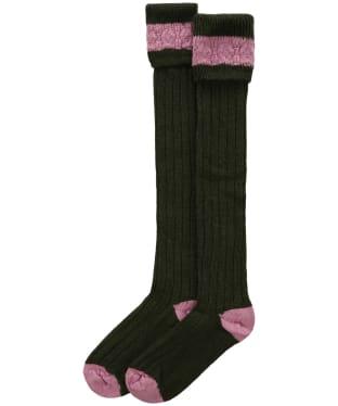Pennine Byron Socks - Olive / Pink