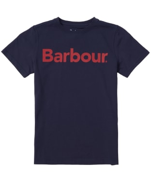 Boy's Barbour Logo Tee, 6-9yrs - Navy