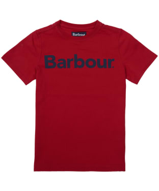 Boy's Barbour Logo Tee, 10-15yrs - Rich Red