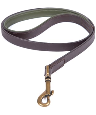 Barbour Padded Leather Dog Lead - Brown / Olive