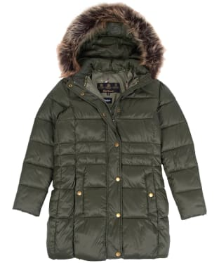 Girl's Barbour Caldbeck Quilted Jacket, 2-9yrs - Olive