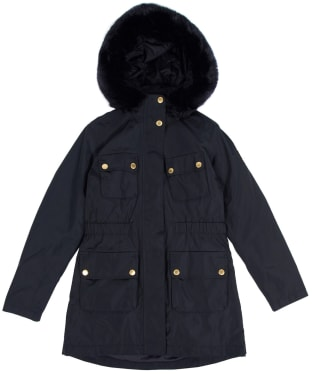 Girl's Barbour International Horsepower Waterproof Jacket, 6-9yrs - Black