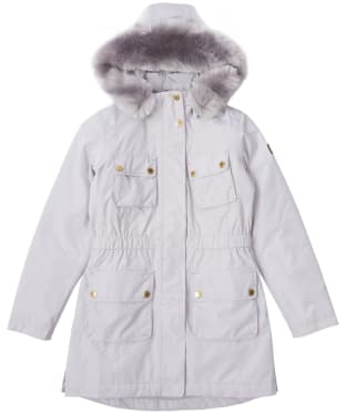 Girl's Barbour International Horsepower Waterproof Jacket, 2-9yrs - Ice White
