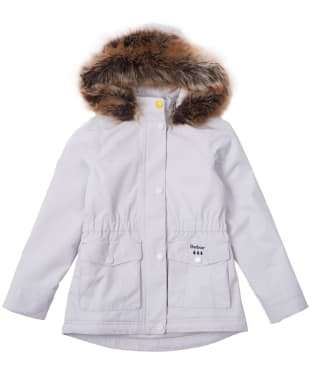 Girl's Barbour Abalone Waterproof Jacket, 2-9yrs - Ice White