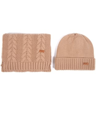 Women's Barbour Cable Knit Hat and Scarf Set - Mink