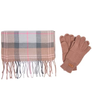 Women's Barbour Scarf and Knitted Glove Gift Set - Taupe / Pink Tartan