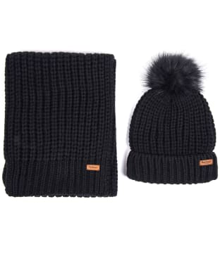 Women's Barbour Saltburn Scarf and Beanie set - Black
