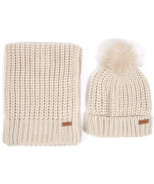 Women's Barbour Saltburn Scarf and Beanie set - Pearl