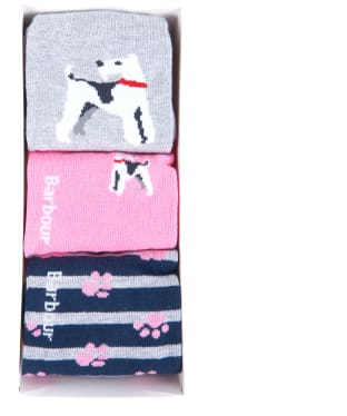 Women's Barbour Terrier Paw Sock Giftbox - Pink / Grey / Navy