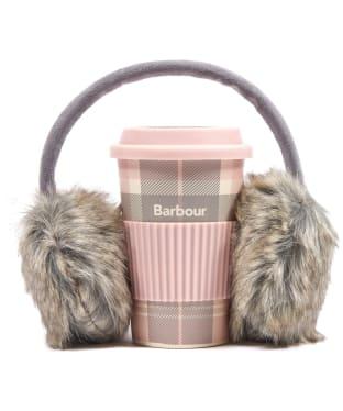 Women's Barbour Travel Mug and Earmuff Set - Pink / Grey Tartan
