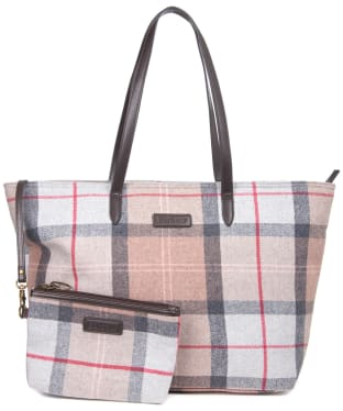 Women's Barbour Witford Tartan Tote Bag - Taupe / Pink