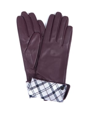Women's Barbour Lady Jane Leather Gloves - Juniper / Grey