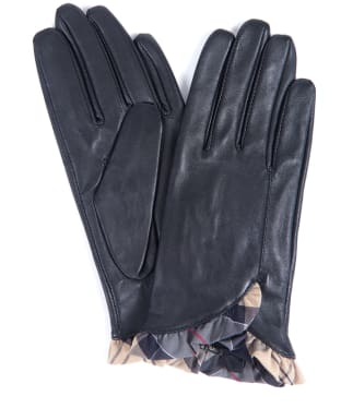 Women's Barbour Glenn Leather Gloves - Black / Dress Tartan