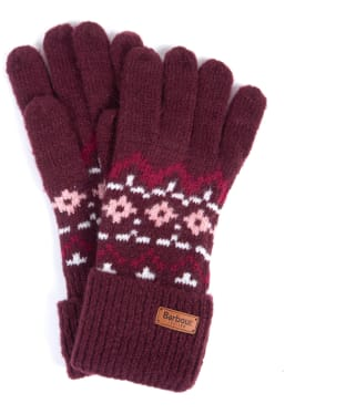 Women's Barbour Roseberry Gloves - Bordeaux / Pink