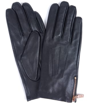Women's Barbour International Garrow Leather Gloves - Black