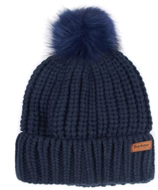 Women's Barbour Saltburn Bobble Hat - Navy