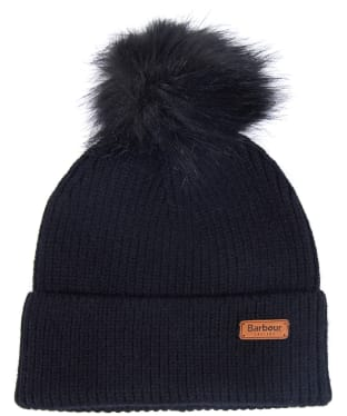 Women's Barbour Dover Pom Beanie Hat - Black