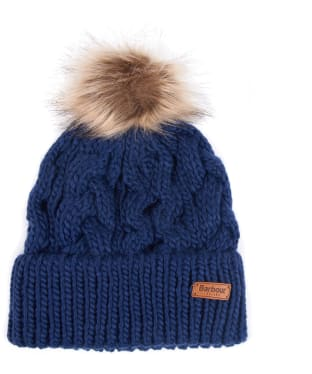 Women's Barbour Penshaw Cable Beanie - Navy