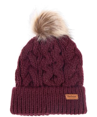 Women's Barbour Penshaw Cable Beanie - Bordeaux
