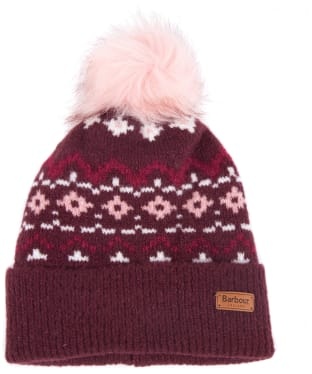 Women's Barbour Roseberry Fairisle Beanie - Bordeaux