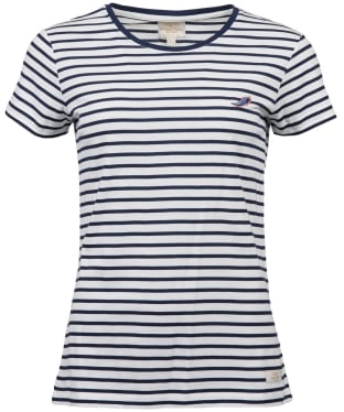 Women's Barbour Crest Top - Off White / Navy