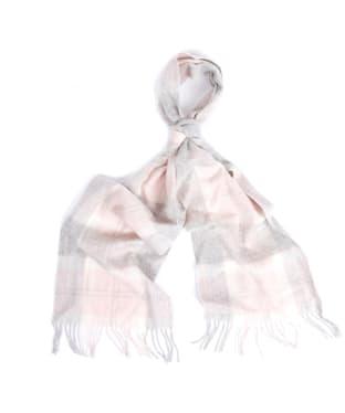 Women's Barbour Tartan Scarf - Soft Pink / Grey Tartan