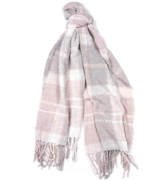 Women's Barbour Tartan Boucle Scarf - Soft Pink / Grey
