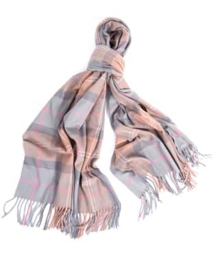 Women's Barbour Hailes Tartan Wrap - Taupe / Pink Tartan
