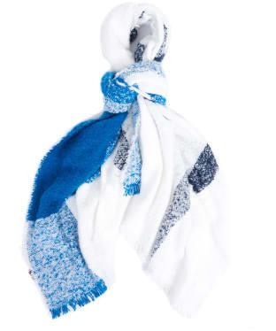 Women's Barbour Plaid Boucle Wrap - Navy / Tide Blue