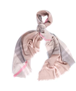 Women's Barbour Lawers Tartan Scarf - Taupe / Pink
