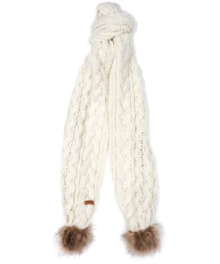 Women's Barbour Cable Pom Scarf - Cloud