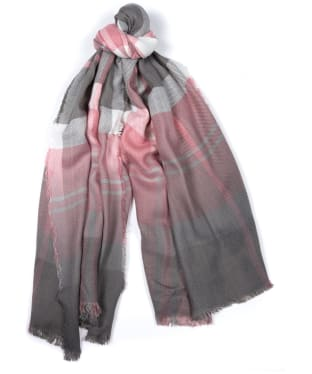 Women's Barbour Glenn Tartan Scarf - Blush Pink / Grey