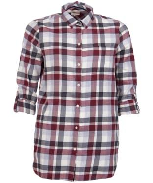 Women's Barbour Lewes Shirt - BORDEAUX/GRY CK