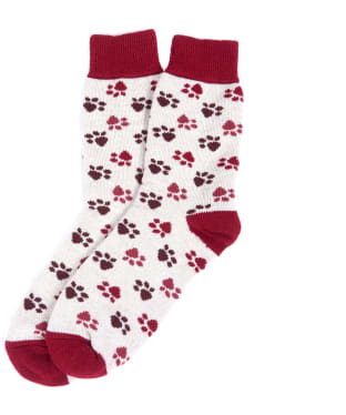 Women's Barbour Paw Print Boot Socks - Pink