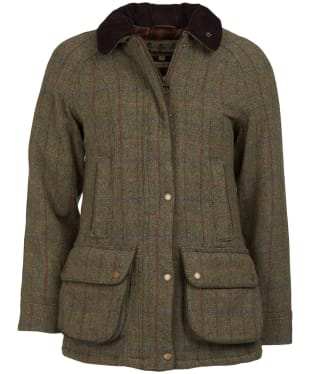 Women's Barbour Carter Wool Jacket - Olive/Aubergine
