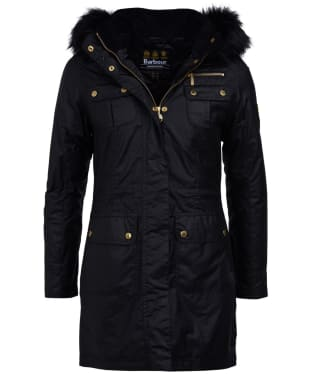 Women's Barbour International Ballacraine Waxed Jacket - Black