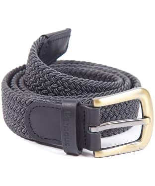 Men's Barbour Stretch Webbing Leather Belt - Charcoal