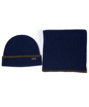 Men's Barbour Cromer Beanie and Scarf Gift Set - Navy