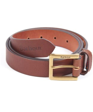 Men's Barbour Pull Up Leather Belt - Dark Tan