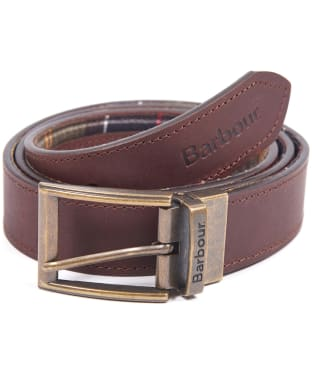 Men's Barbour Reversible Tartan Leather Belt